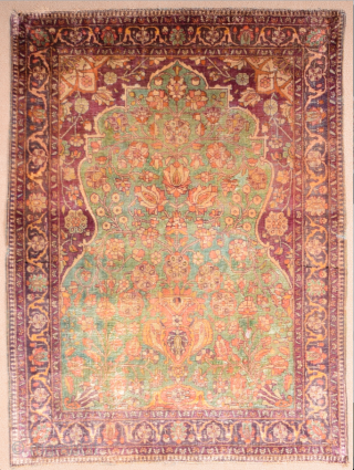 This very finely woven silk rug was produced in one of the Kashan master workshops showing a garden design on a green field circa 1900s Small Muhteshem Keshan prayer Rug rare small  ...