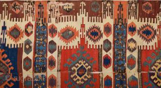 Early 19th Century Central Anatolian Probably Konya Kupeli Area Kilim Fragment Size 150 x 240 cm