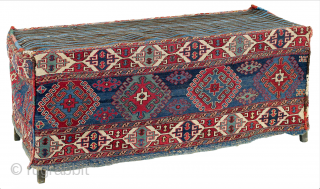 """South East Caucasus, Moghan region second half 19th Century size 40 x 112 cm Called """"mafrash"""", these large flatweaves with four sides and a kilim base were used by the Shahsavan nomads  ..."""