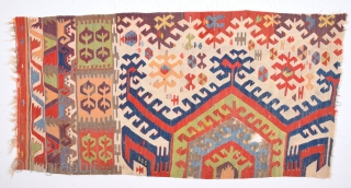 18th Century Central Anatolia Kilim Fragment Size 85 x170 Cm Look at the colors