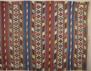 19th Century Schirvan Really Thin quality kilim.It's in good condition and untouched one.Size 151 x 275 Cm