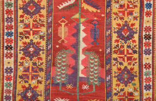 Circa 1840s Anatolian Melas Rug.It's in Perfect Condition And has good pile on it.The middle side of the rug has original abrash Not REPAİR.Size 100 x 160 Cm.It has amazing colors.