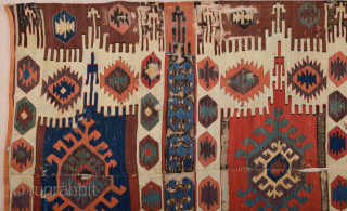 Early 19th Century Central Anatolian Probably Konya Kupeli Area Kilim Fragment Size 150 x 240 cm