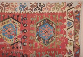 Early 19th Century Unusual Central Anatolian Probably Aksaray Küpeli Area Kilim Size 150 x 260 Cm Already Mounted Professionally
