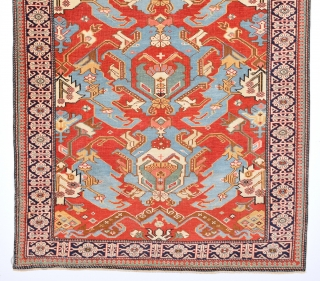 An Important 19th Century Unusual Small Shirvan Kuba Rug With Unusual Dragon Design.It has fine thin qualty.Small Size 96 x 124 Cm.Completely Original And Untouched One.
