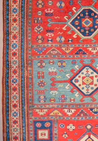 19th Century Unusual Caucasian Rug Size 128 x 265 cm