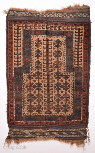 19th Century Belüch Prayer Rug Size 75 x 94 Cm.As Found It.Completely Original Untouched One.