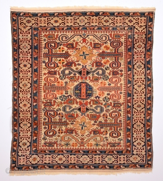 19th Century Caucasian Perepedil Rug.It's in Good Condition.Small Size 105 x 120 Cm.As Found It.