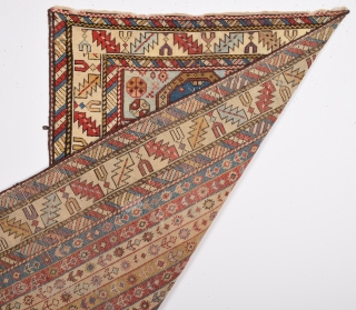 19th Century Unusual Shirvan Rug.It's In Good Condition And Has Good Small Size 79 x 135