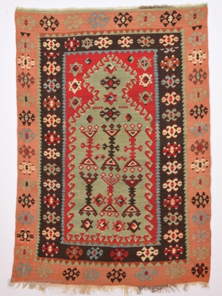 19th Century Anatolian Sivas Area Prayer Kilim.Size 86 x 130 Cm Untouched One.