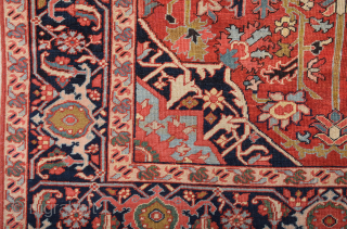 19th Century Small Heriz Rug Size 140 x 185 cm It Has Great Colors.