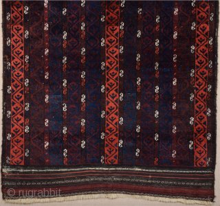 Unusual Design Belüch Rug Circa 1880s.It's In Perfect Condition And As Found It.Complately Original And Untouched One.The rug has wonderful silky wool.It Has Original Nice Kilim Ends.Size 110 x 112 Cm