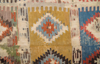 Circa 1800s Konya Kilim Fragment probably Seydişehir Size 153 x 295 cm Collectible ıtem.