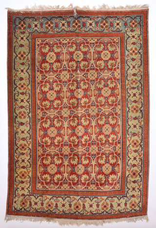 Circa 1900s Persian Rug Probably Tabriz Rug With Unusual Design Size 109 x 159 Cm.It's In Good Condition.