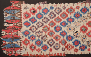 18th Century Anatolian Sivas Kilim Fragment.It has perfect colors and archaic ends.Size 135 x 230 cm