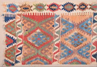 Circa 1800s Central Anatolian Kilim Fragment Size 80 x 200 cm