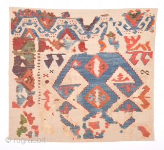 18th Century Central Anatolian Kilim Fragment size 80 x 88 cm