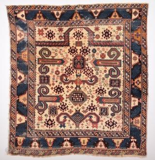 19th Century Caucasian Perepedil Rug Size 125 x 135 Cm.Completely Original.