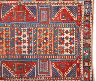 Middle of the 19th Century Caucasian Karatcof Rug in Good Condition Size 158 x 208 Cm