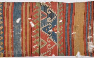 18th Century Unusual Central Anatolian Kilim.Collectible one.Size 92 x 290 Cm