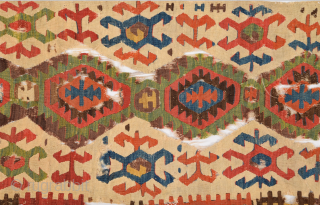 18th Century Colorful Central Anatolian Konya Kilim Fragment Size 77 x 316 cm
