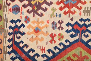 18th Century Anatolian Konya Colorful  Kilim Fragment Size 85 x 170 cm