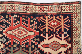 19th Century unusual Shirvan rug with Kilim design ıt's in good condition.Size 133 x 295 Cm