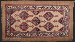 19th Century Hamadan Area Camel Ground Rug Size 210 x 370 cm this Carpet was exported from Iran before 2015 All the colors are naturel and ıt's in good condition.All the sides  ...