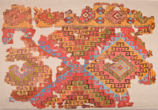 18th Century Central Anatolia Cappadocian Rug Fragment size 117 x 167 cm mounted on linen professionally