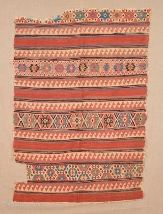 18th Century Anatolian Unusual Kilim Fragment Probably izmir Helvacı Area Kilim Fragment Size 97 x 145 Cm