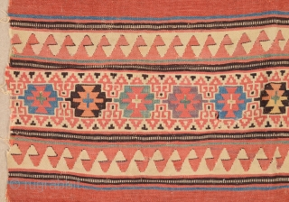 18th Century Anatolian Unusual Kilim Fragment Probably izmir Helvacı Area Kilim Fragment Size 97 x 145 Cm