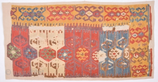 18th Century Unusual Anatolian Cappadokia Kilim Fragment Size 82 x 171 Cm