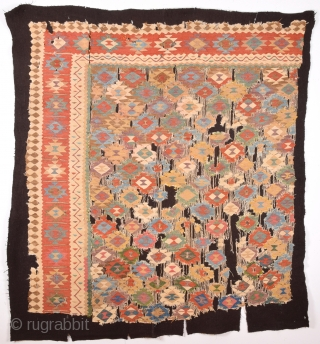 Circa 1800's Unusual Persian Kilim Fragment It Has Perfect Colors And Design.Size 150 x 160 Cm