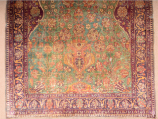 Circa 1900 Small Silk Muhteshem Keshan Rug Size 75 x 103 cm