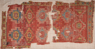 Early 18th Century An Unusual Central Anatolian Cappadokia Rug Fragment Size 107 x 220 cm