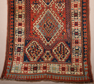 19th Century Caucasian Borjalo Rug Size 105 x 190 cm All the colors are naturel and in perfect condition ıt has only few knots old restoration.Ends and selvedges are original.
