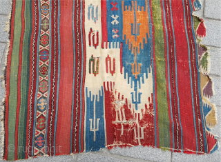 Early Example Colorful Anatolian Saph Kilim Fragment circa 1750s or early size 110 x 175 cm