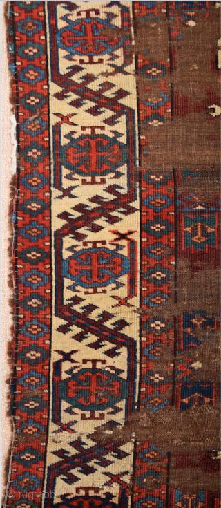 Circa 1800s or Early Yomud Kepse Gul Main Carpet Size 164 x 241 cm It Has Unusual Borders