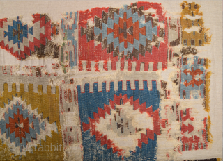 Circa 1800s or Early Anatolian Konya Kilim Fragment Probably Seydişehir Area Piece Size 153 x 295 cm