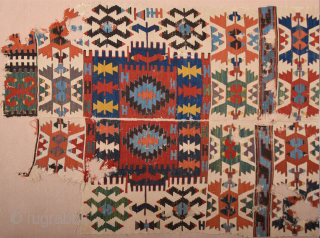 19th Century Anatolian Kuzulu Area Kilim Fragment Size 57 x 264 cm It has good colors on it.