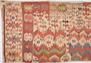 Circa 1800s Anatolian Kilim Already Mounted Professionally.It Has Great Colors Size 97 x 335 Cm