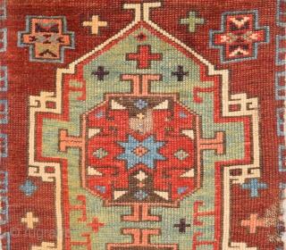 Circa 1800s Central Anatolian Probably Konya Karapınar Area Unusual Yastık.It Has Really Good Pile and Mounted Already Size 43 x 70 Cm