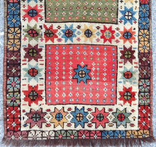 Mid 19th Century Unusual Anatolian Karapinar Yastik Size 56 x 82 Cm.Untouched One