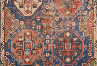Circa 1800s Unusual Early East Caucasian Fragment Size 88 x 132 Cm