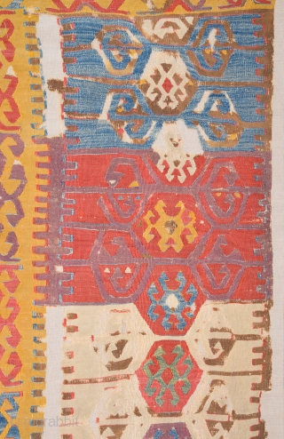 18th Century This small fragment is from a very old kilim probably woven by Cappadocia. kilim originally consisted of two long panels but only found this lovely fragment the surviving fragment is  ...