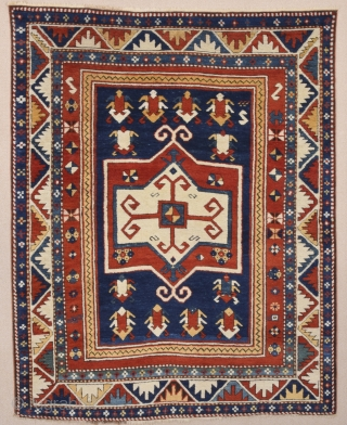 Late 19th Century Caucasian Fahrola Rug with perfect condition and colorful one.Size 118 x 148 Cm