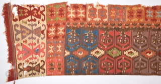Early 19th Century Central Anatolian Cappadocia Kilim Fragment Size 75 x 410 Cm