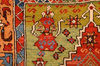 Circa 1780s-1800s Central Anatolian Unusual Prayer Rug Size 125 x 150 Cm It Has Only Few Old Restoration Not Much.