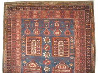 "Baku Caucasian circa 1910 antique. Size: 175 x 123 (cm) 5' 9"" x 4'   carpet ID: RS-302 Vegetable dyes, the knots are hand spun lamb wool, good condition, high pile, the  ..."