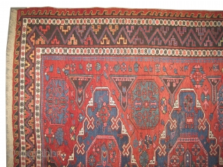 "Soumak Konakent Caucasian woven circa in 1905, antique, collector's item. 197 x 176 (cm) 6' 6"" x 5' 9""  carpet ID: A-981